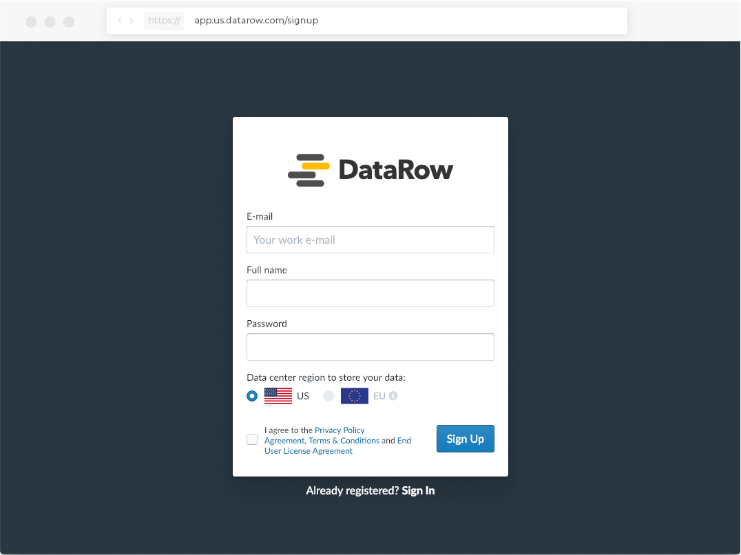 datarow signup page