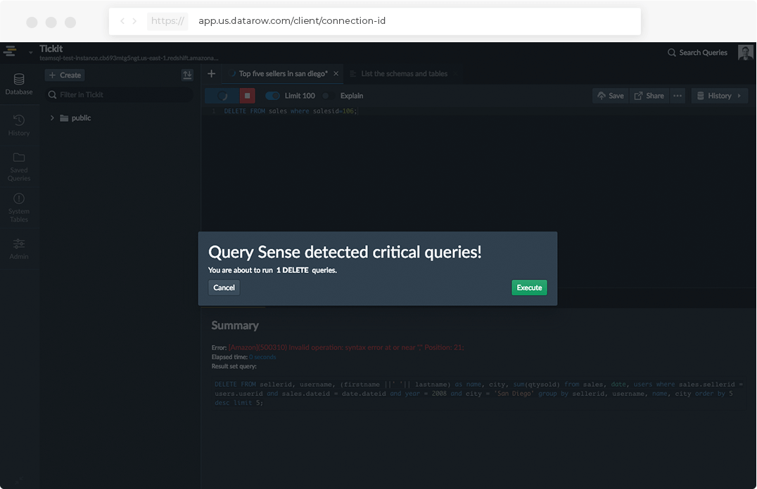query sense message pop up